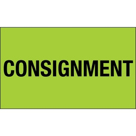 """Fluorescent Green """"Consignment"""" Production Labels, 3 x 5"""""""