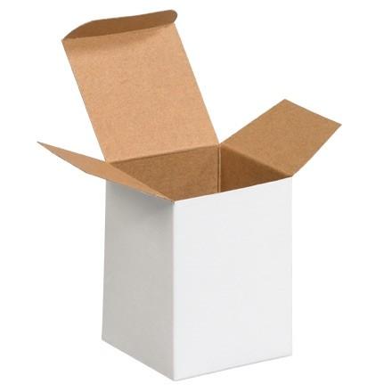 "Chipboard Boxes, Folding Cartons, Reverse Tuck, 3 x 3 x 4"", White"