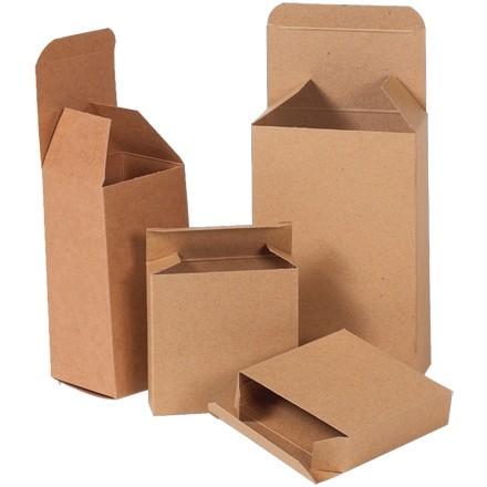"Chipboard Boxes, Folding Cartons, Reverse Tuck, 3 x 3 x 3"", Kraft"