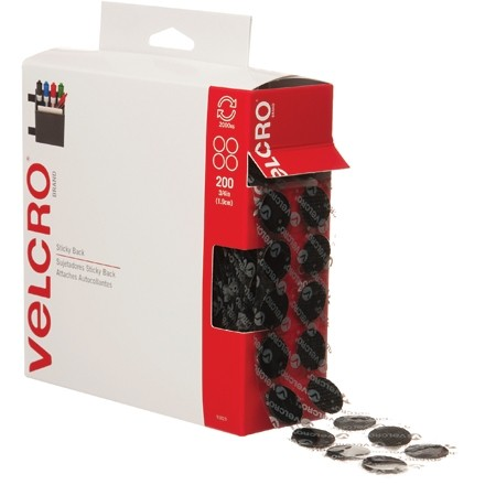 """VELCRO® Hook and Loop, Combo Pack, Dots, 3/4"""", Black"""