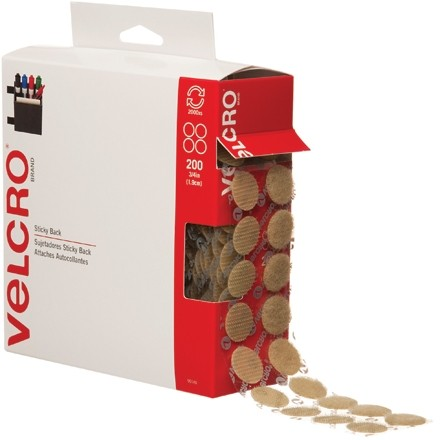 "VELCRO® Hook and Loop, Combo Pack, Dots, 3/4"", Beige"