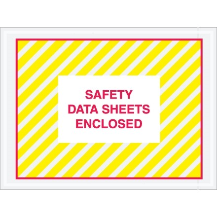 "SDS ""Safety Data Sheets Enclosed"" Envelopes, Clear, 4 1/2 x 6"""