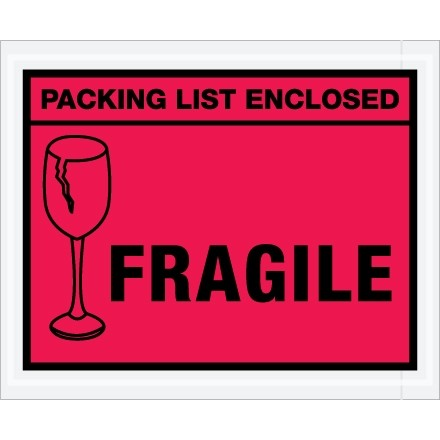 """Packing List Enclosed - Fragile"" Envelopes, Red, 4 1/2 x 5 1/2"""