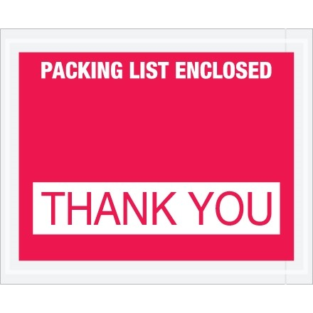 """""""Packing List Enclosed - Thank You"""" Envelopes, Red, 4 1/2 x 5 1/2"""""""