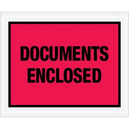 """Documents Enclosed"" Envelopes, Red, 4 1/2 x 5 1/2"""