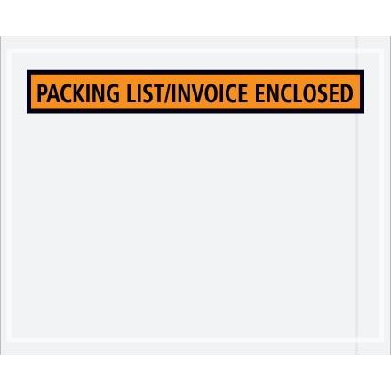 """Packing List/Invoice Enclosed"" Envelopes, Orange, 4 1/2 x 5 1/2"""