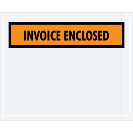 """""""Invoice Enclosed"""" Envelopes, Orange, 4 1/2 x 5 1/2"""""""