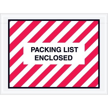 """Packing List Enclosed"" Envelopes, Red/White, 4 1/2 x 6"", Full Face"