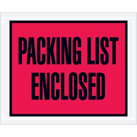 """Packing List Enclosed"" Envelopes, Red, 4 1/2 x 5 1/2"", Full Face"