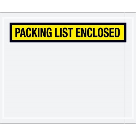 """""""Packing List Enclosed"""" Envelopes, Yellow, 4 1/2 x 5 1/2"""", Panel Face"""