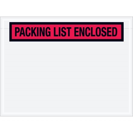 """""""Packing List Enclosed"""" Envelopes, Red, 4 1/2 x 6"""", Panel Face"""