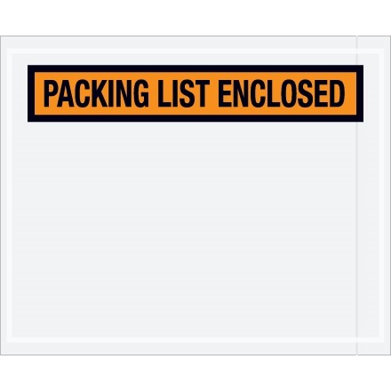 """Packing List Enclosed"" Envelopes, Orange, 4 1/2 x 5 1/2"", Panel Face"