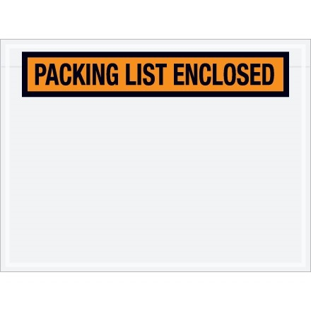 """Packing List Enclosed"" Envelopes, Orange, 4 1/2 x 6"", Panel Face"
