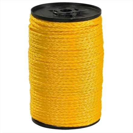 "Hollow Braided Polypropylene Rope - 3/16"", Yellow"