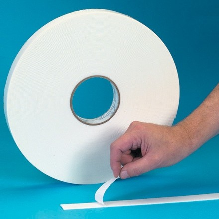 "White Industrial Double Sided Foam Tape, 1/16"" Thick - 1/2"" x 36 yds."