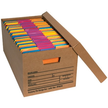 """Economy File Storage Boxes with Lid, 24 x 12 x 10"""""""