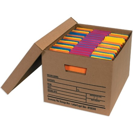 """Economy File Storage Boxes with Lid, 15 x 12 x 10"""""""