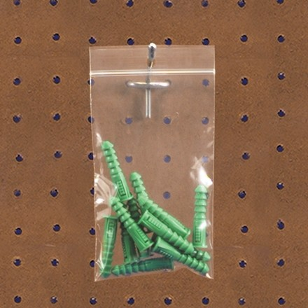"""Reclosable Poly Bags, 2 x 2"""", 2 Mil, With Hang Holes"""