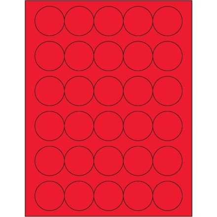 Fluorescent Red Circle Laser Labels, 1 1/2""