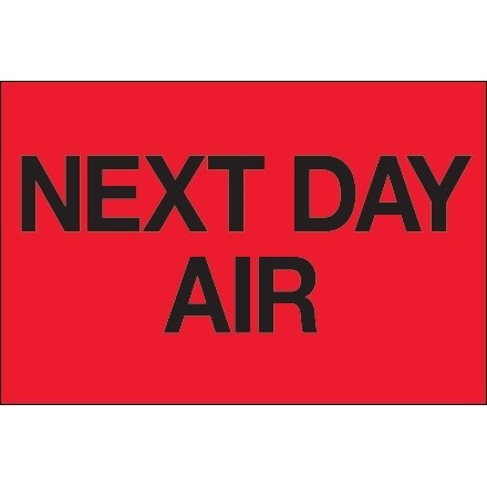 """"""" Next Day Air"""" Fluorescent Red Labels, 2 x 3"""""""