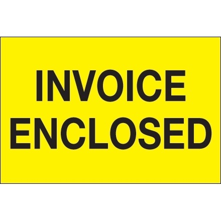 """"""" Invoice Enclosed"""" Fluorescent Yellow Labels, 2 x 3"""""""