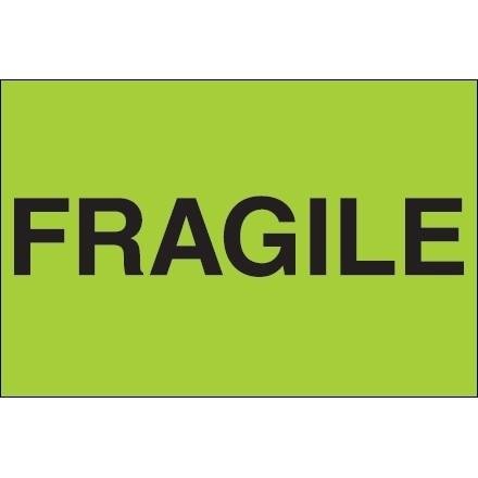 """ Fragile"" Green Labels, 2 x 3"""
