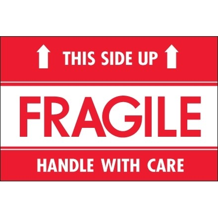 """ Fragile - This Side Up - Hwc"" Labels, 2 x 3"""