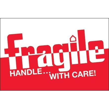 """"""" Fragile Handle... With Care!"""" Labels, 2 x 3"""", Red/White"""