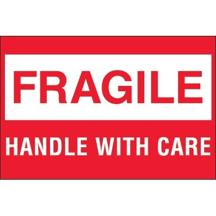 """"""" Fragile - Handle With Care"""" Labels, 2 x 3"""", White/Red"""