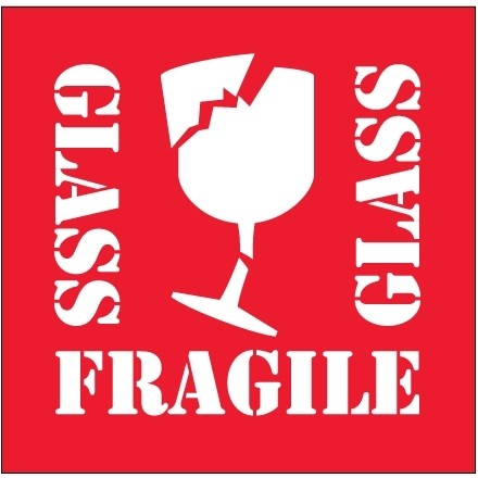 """"""" Fragile - Glass"""" Labels, 4 x 4"""""""