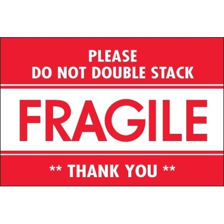 """"""" Fragile - Do Not Double Stack"""" Labels, 2 x 3"""""""