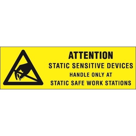 """Static Warning Labels -"""" Attention - Static Sensitive Devices"""", 5/8 x 2"""""""