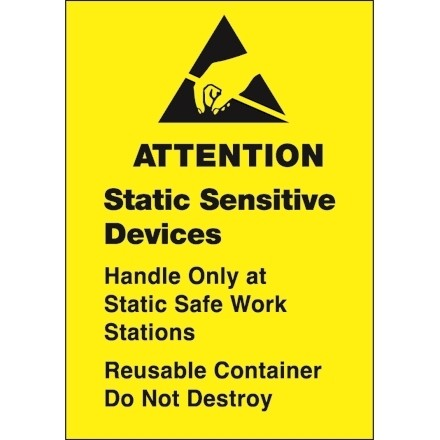 """Yellow Static Warning Labels -"""" Static Sensitive Devices"""", 1 3/4 x 2 1/2"""""""