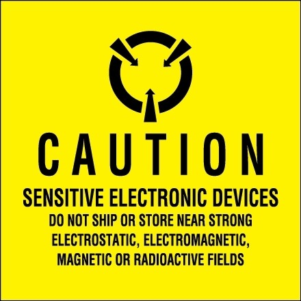"""Static Warning Labels -"""" Sensitive Electronic Devices"""", 2 x 2"""""""