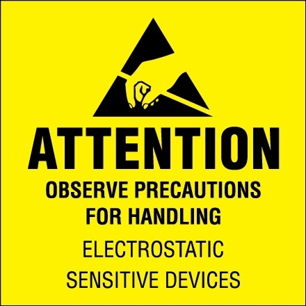 "Static Warning Labels -"" Attention - Observe Precautions"", 2 x 2"""