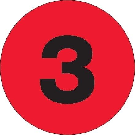 """Fluorescent Red Circle """"3"""" Number Labels - 4"""""""