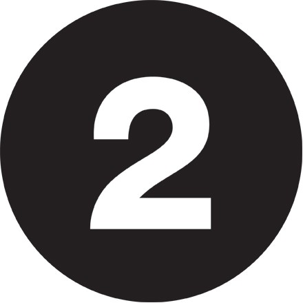 "Black Circle ""2"" Number Labels - 2"""
