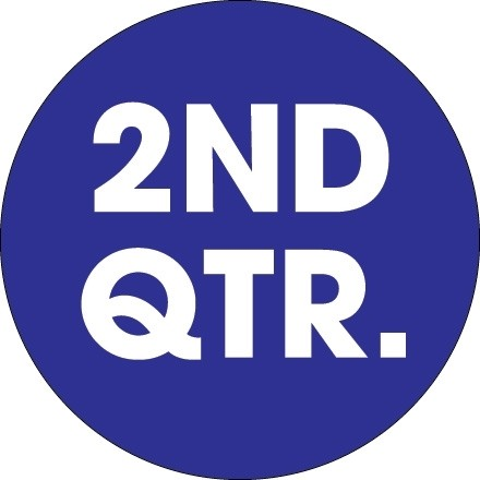 """Dark Blue """"2ND QTR."""" Circle Inventory Labels, 2"""""""