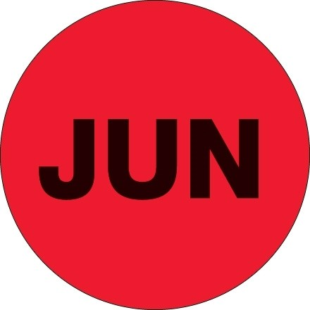 """Fluorescent Red """"JUN"""" Circle Inventory Labels, 2"""""""