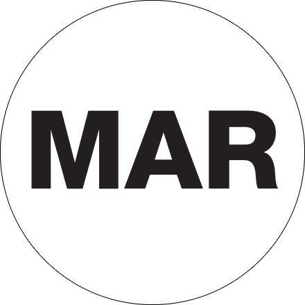 """White """"MAR"""" Circle Inventory Labels, 2"""""""