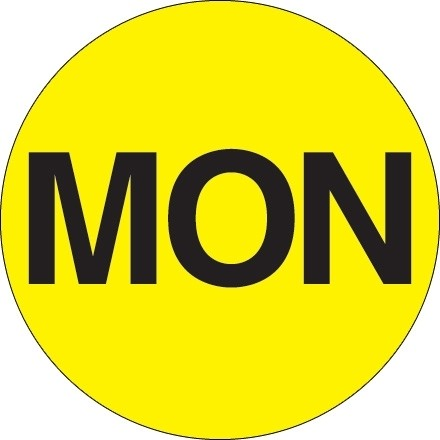 """Fluorescent Yellow """"MON"""" Circle Inventory Labels, 2"""""""