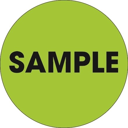 "Fluorescent Green ""Sample"" Circle Inventory Labels, 2"""