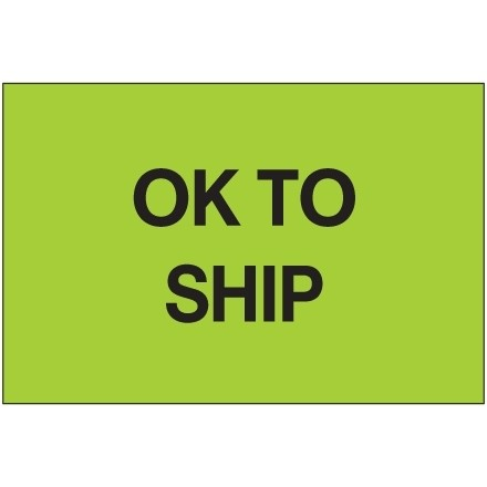 "Fluorescent Green ""Ok To Ship"" Inventory Labels, 2 x 3"""