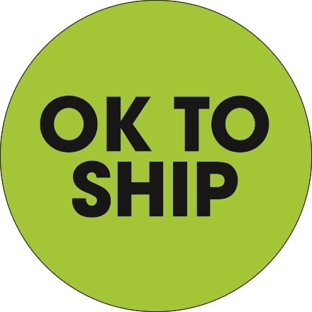 """Fluorescent Green """"Ok To Ship"""" Circle Inventory Labels, 2"""""""