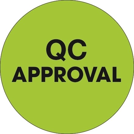 """Fluorescent Green """"QC Approval"""" Circle Inventory Labels, 1"""""""