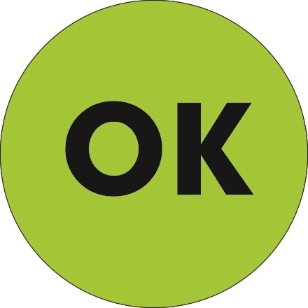 """Fluorescent Green """"OK"""" Circle Inventory Labels, 1"""""""