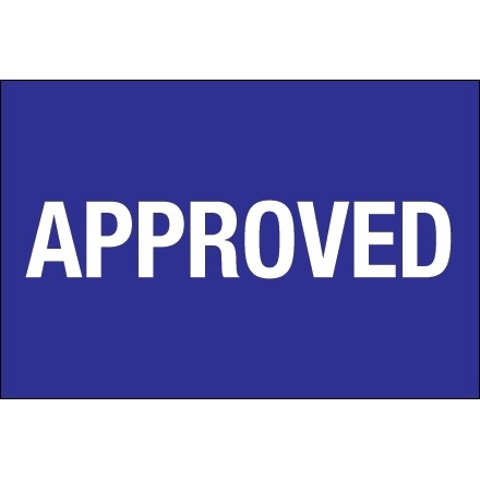 "Blue ""Approved"" Inventory Labels, 2 x 3"""