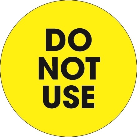 """Fluorescent Yellow """"Do Not Use"""" Circle Inventory Labels, 2"""""""
