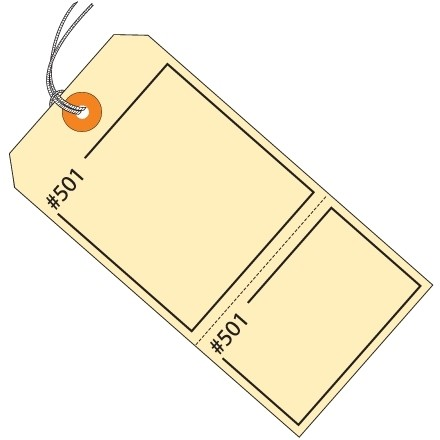 """Manila Pre-Strung Consecutively Numbered 2-Part Claim Tags, 4 3/4 x 2 3/8"""""""