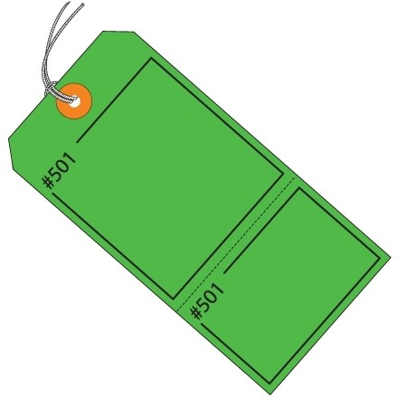 Green Pre-Strung Consecutively Numbered 2-Part Claim Tags, 4 3/4 x 2 3/8""